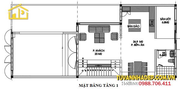 hình ảnh tầng 1 biệt thự phố 3 tầng 120m2