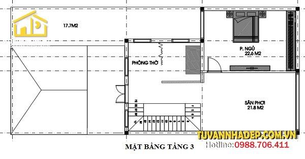 bố trí mặt bằng tầng 3 biệt thự phố 3 tầng 120m2