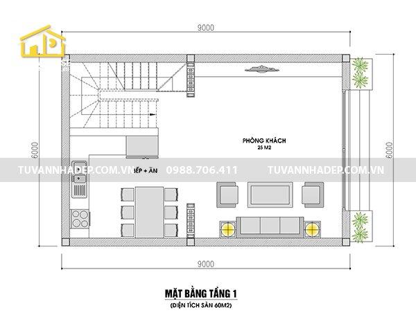 bản vẽ mặt bằng tầng 1 nhà 2 tầng mái thái 60m2