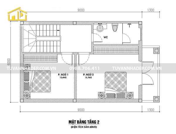 bản vẽ tầng 2 nhà 2 tầng mái thái 60m2
