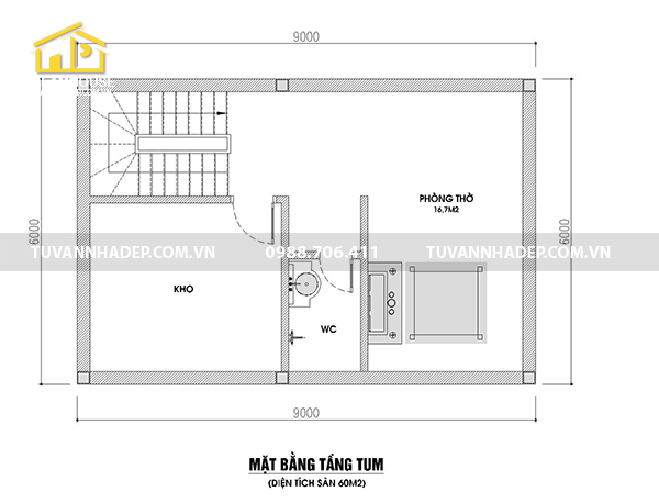chi tiết tầng tum nhà 2 tầng mái thái 60m2