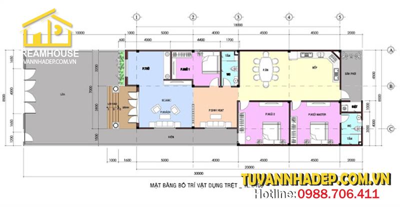 bố trí mặt bằng nhà cấp 4 mái thái 8x22m