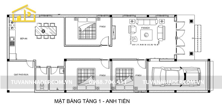 chi tiết mặt bằng nhà cấp 4 mái tôn 7x20m