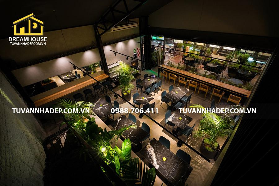view tổng thể tầng 1 nhà hàng