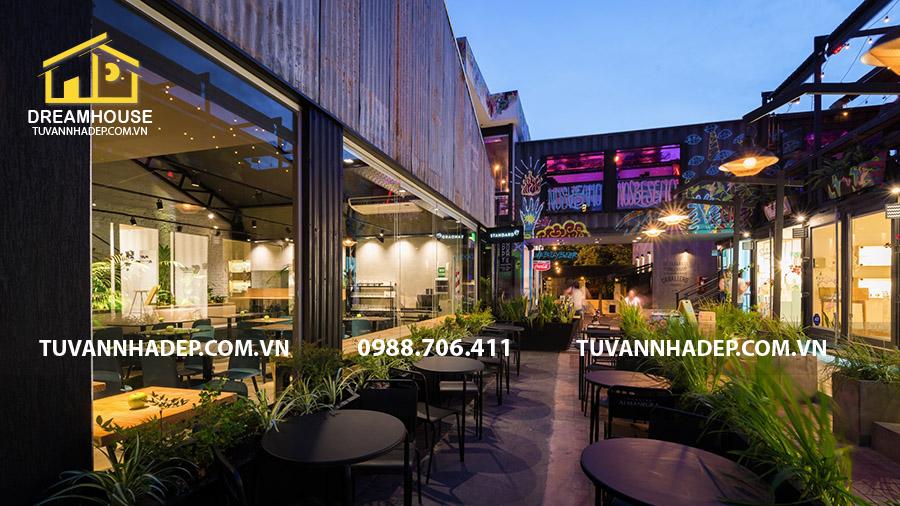 không gian ngoài trời mẫu thiết kế nội thất nhà hàng ăn nhanh