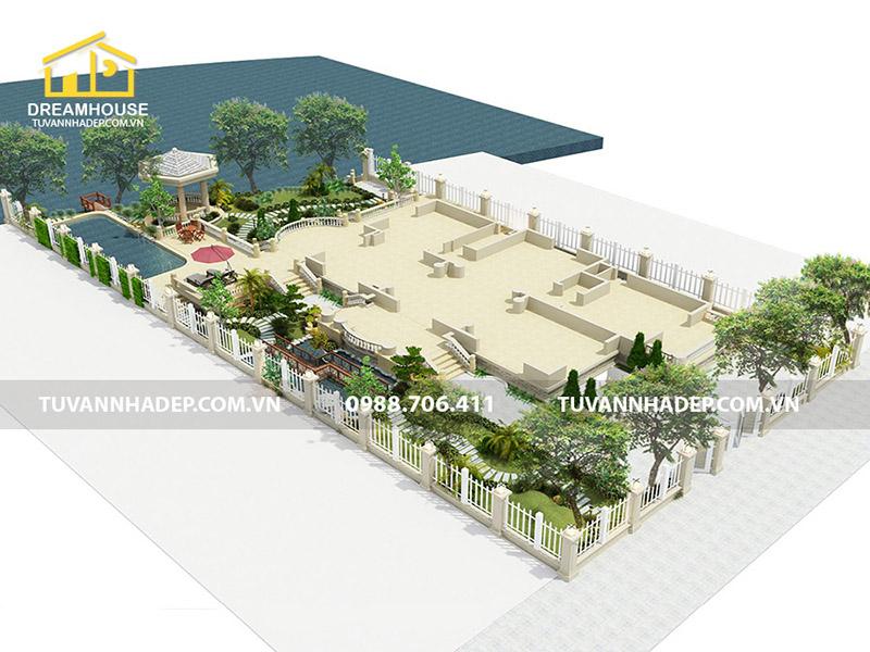 Thiết kế sân vườn biệt thự 950m2 hiện đại và đẳng cấp