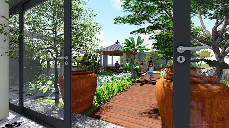 mẫu thiết kế cảnh quan sân vườn đẹp 80m2