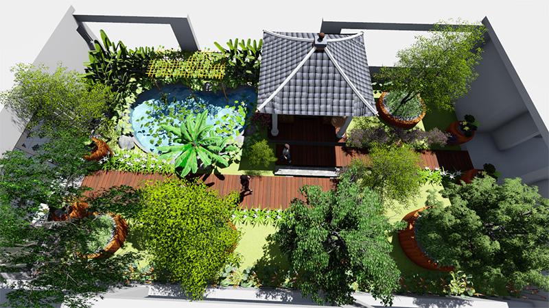 góc nhìn tổng thể mẫu thiết kế sân vườn sân thượng 80m