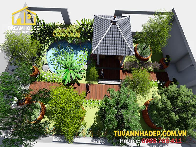 Thiết kế sân vườn sân thượng 80m2 đủ không gian ở Hà Nội