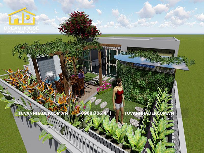 thiết kế vườn sân thượng 70m2