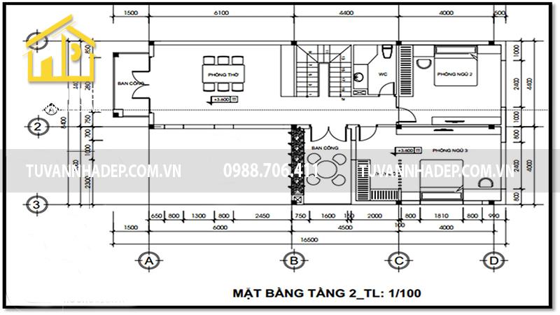Công năng tầng 2 căn biệt thự chữ L 2 tầng 150m2