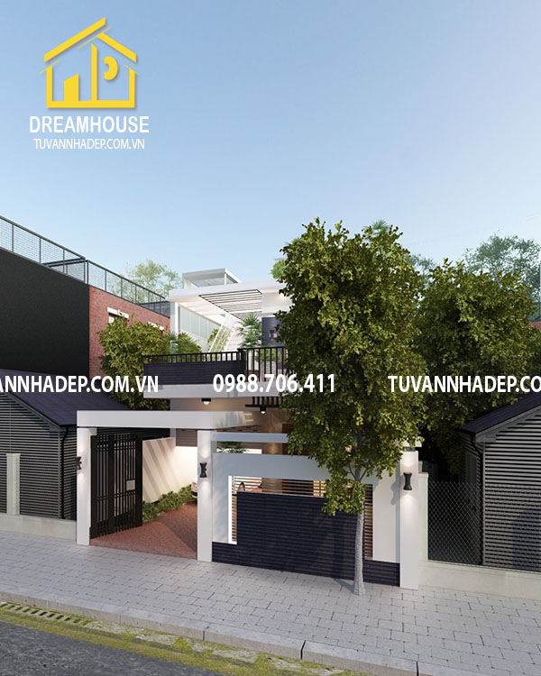 Phương án phối cảnh căn nhà 2 tầng hiện đại