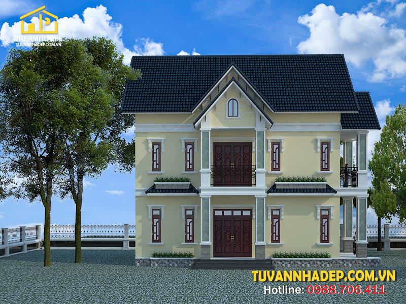 Nhà 2 tầng đẹp mái thái mặt tiền 8m
