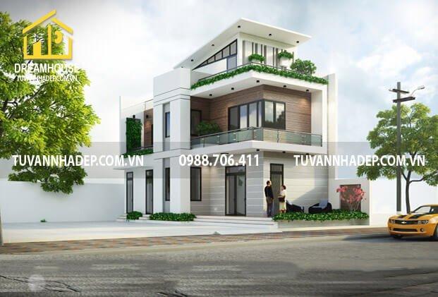 Mẫu biệt thự 2 tầng hiện đại 80m2 có gác mái ở Hà Nội