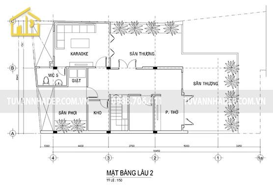Ban công tầng 3 căn biệt thự 3 tầng trang trí cảnh quan