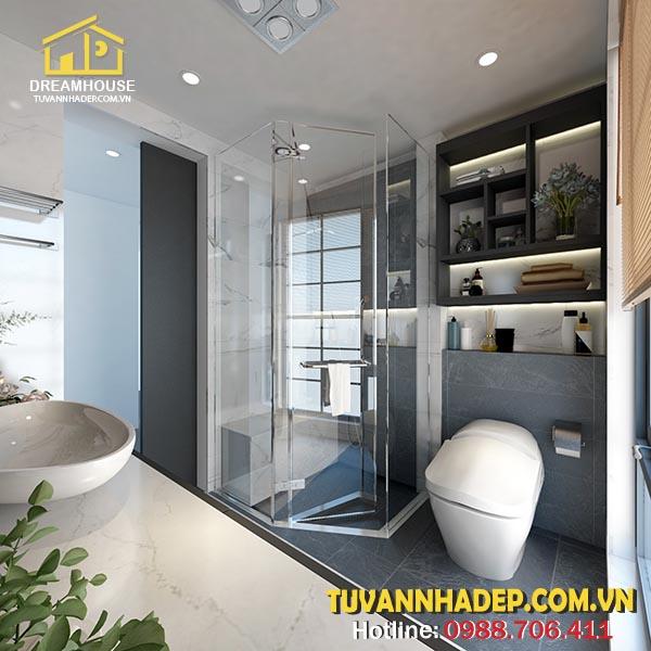 Nhà vệ sinh có vách kính
