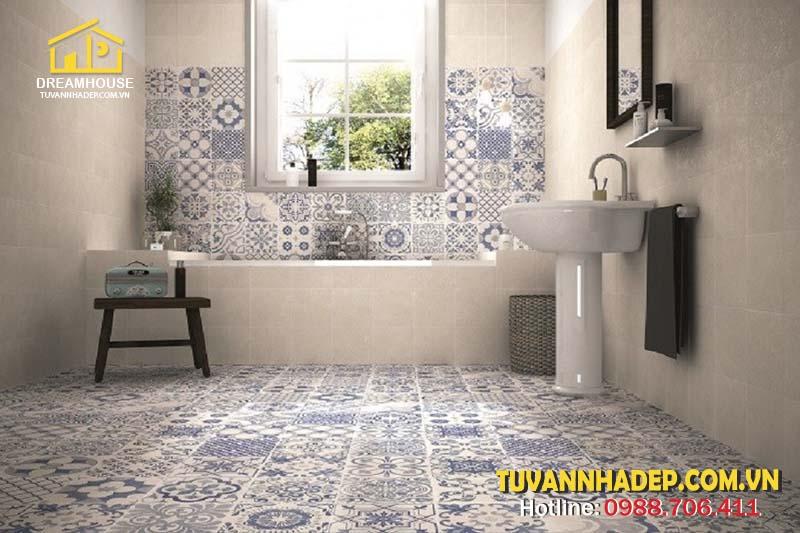 lát nền phòng tắm với gạch bông