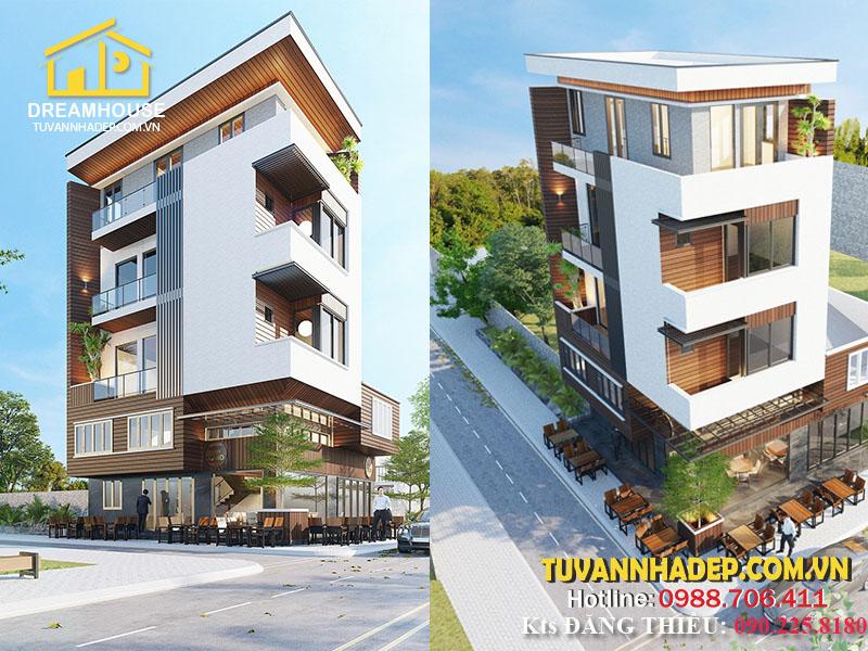 Phương án thiết kế nhà phố 4 tầng kết hợp cafe phố hiện đại – KTS Phan Hoàng Đăng Thiều