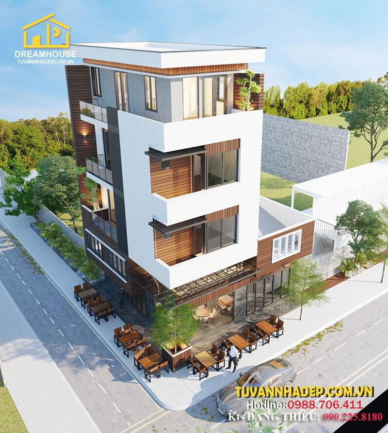 thiết kế nhà phố 4 tầng kết hợp quán cafe