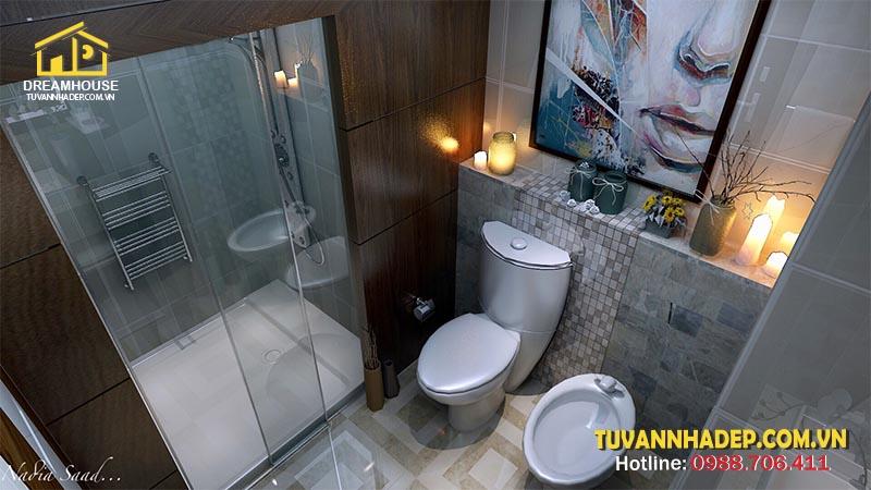 Mẫu nhà tắm đẹp được bài trí ngăn nắp khoa học
