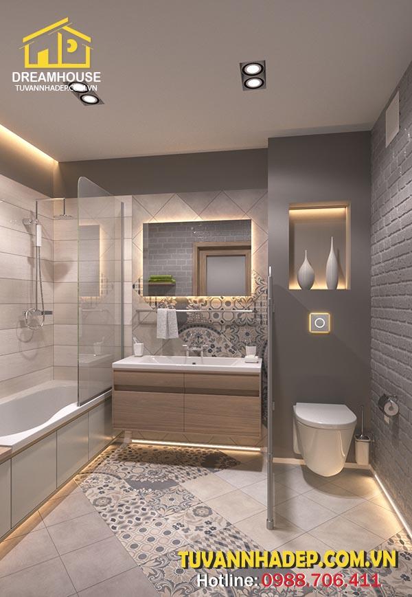 Ánh sáng trong nhà tắm hài hòa với nội thất