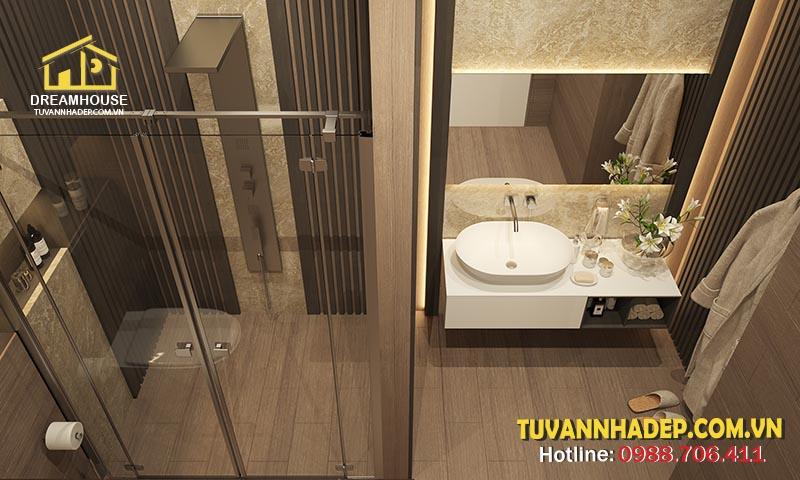Vách kính ngăn cách nhà tắm với nhà vệ sinh tiết kiệm diện tích