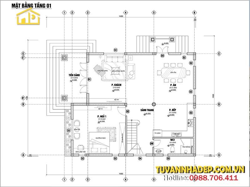 công năng tầng 1 biệt thự 2 tầng mái thái mặt tiền 10m