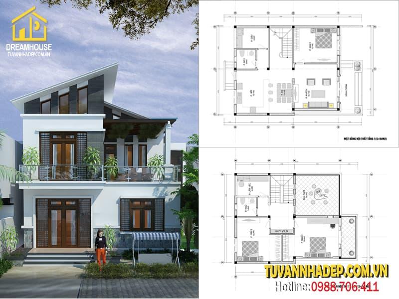 Bản vẽ thiết kế biệt thự mái lệch 2 tầng 9x14m hiện đại