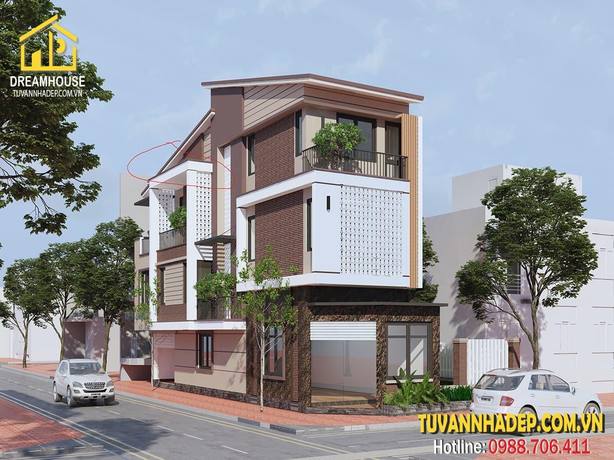 Bản vẽ thiết kế nhà phố 3 tầng 5x20m kiến trúc hiện đại