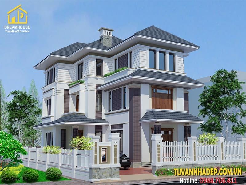 Mẫu thiết kế biệt thự 3 tầng mái thái 11x18m ở Yên Bái