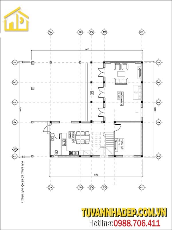 Bản vẽ mặt bằng căn biệt thự 2 tầng chữ L