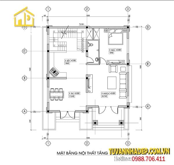 Phương án bố trí công năng biệt thự 3 tầng
