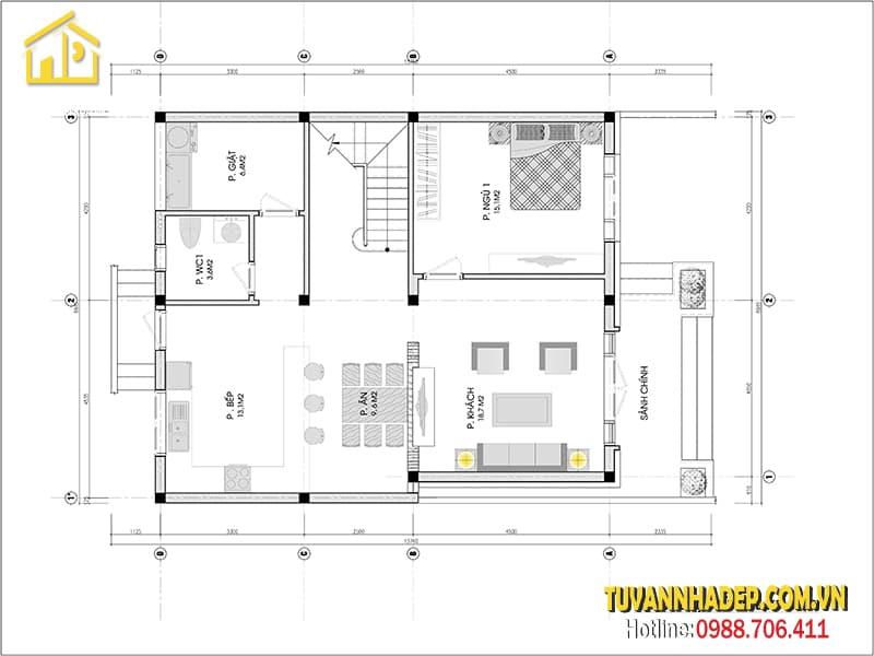 Công năng tầng 2 căn biệt thự 9x14m