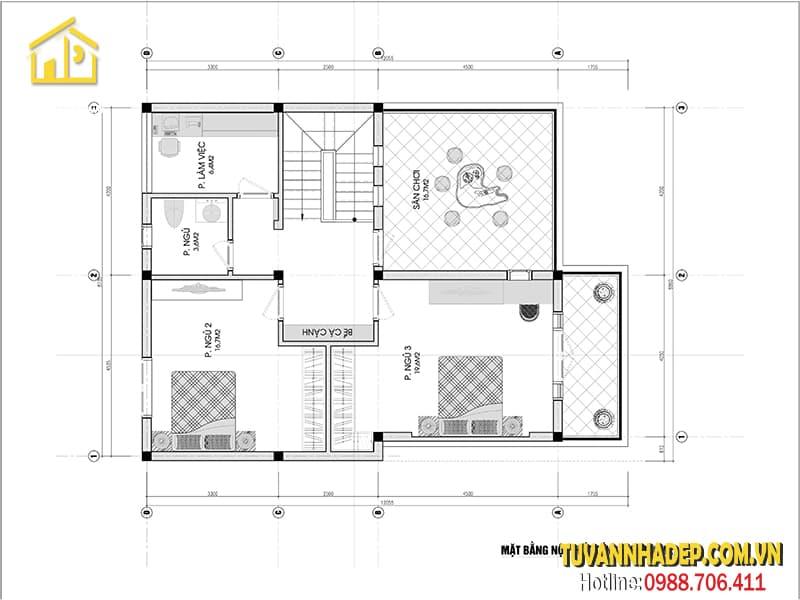 Bản vẽ mặt bằng tầng 2 căn biệt thự 9x14m