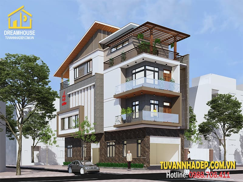 Bản vẽ thiết kế nhà phố 4 tầng kết hợp kinh doanh mặt tiền 5m