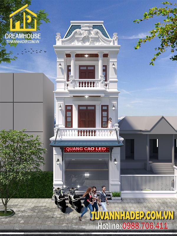 Mẫu nhà phố kết hợp kinh doanh 3 tầng ngang 4.5m
