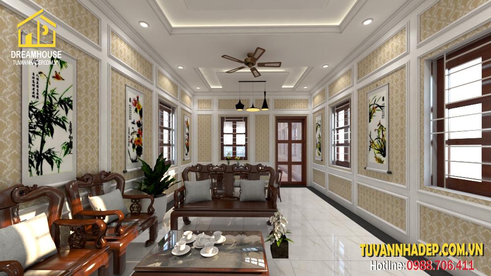 không gian phòng khách nhà phố tân cổ điển 3 tầng mặt tiền 4.5m