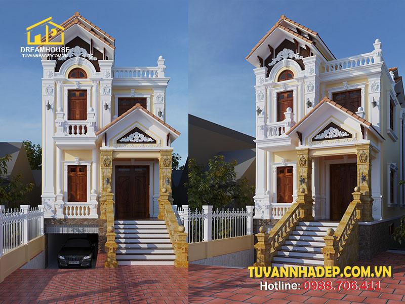 Mẫu thiết kế biệt thự 2 tầng tân cổ điển 118m2 tại Thái Bình
