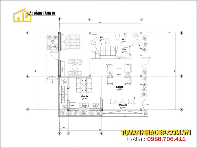 bản vẽ tầng 1 biệt thự 2 tầng hiện đại 65m2