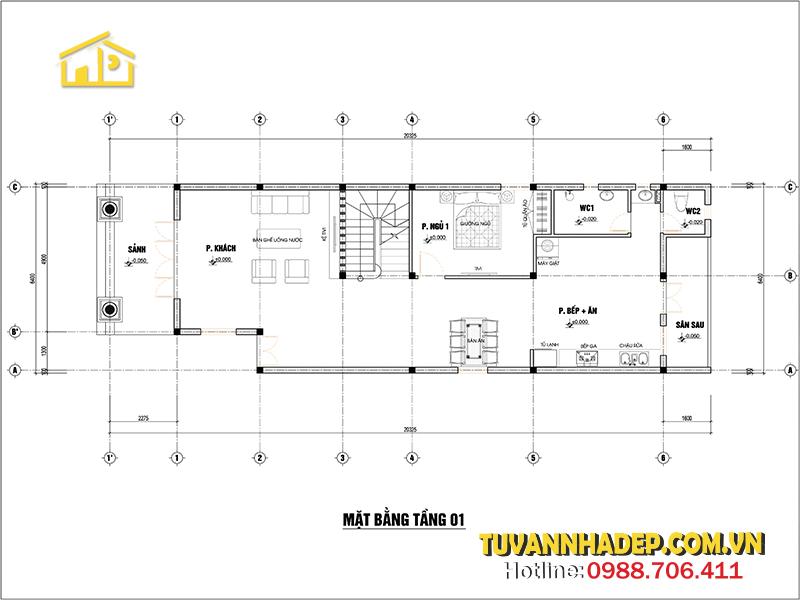 bản vẽ mặt bằng biệt thự 2 tầng mái thái 130m2