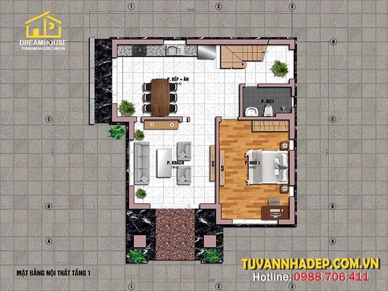 bố trí mặt bằng tầng 1 nhà 2 tầng mái thái 120m2