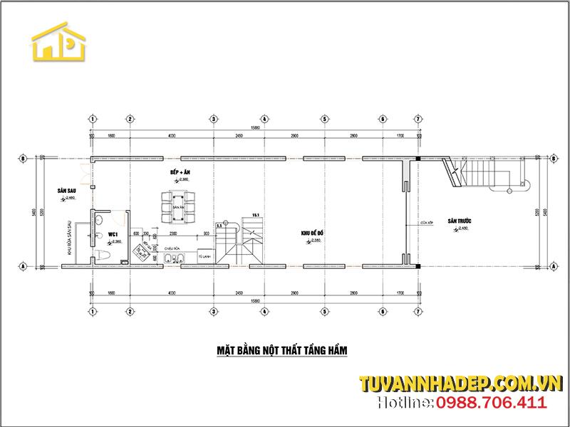 bố trí mặt bằng tầng hầm nhà mái thái 2 tầng 86m2