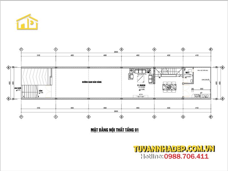 tầng 1 nhà ống 1 tầng kết hợp kinh doanh 135m2