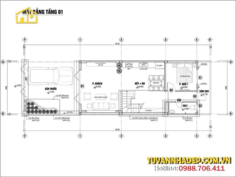 tầng 1 nhà ống 2 tầng 1 tum mặt tiền 5.5m