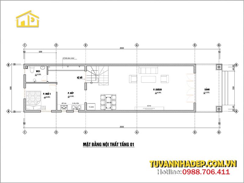 bố trí công năng tầng 1 nhà ống 2 tầng mặt tiền 5m