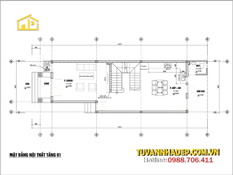 bản vẽ tầng 1 nhà ống 3 tầng 98m2