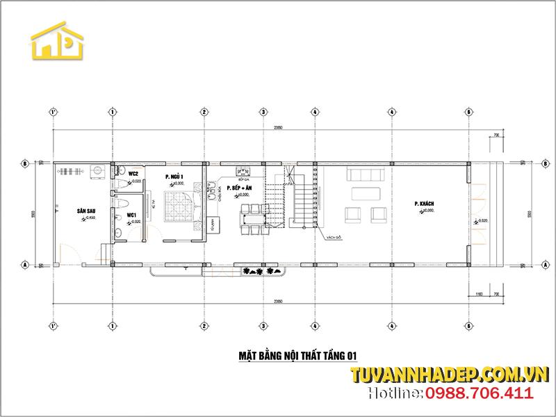bố trí công năng tầng 1 nhà ống 3 tầng hiện đại 130m2