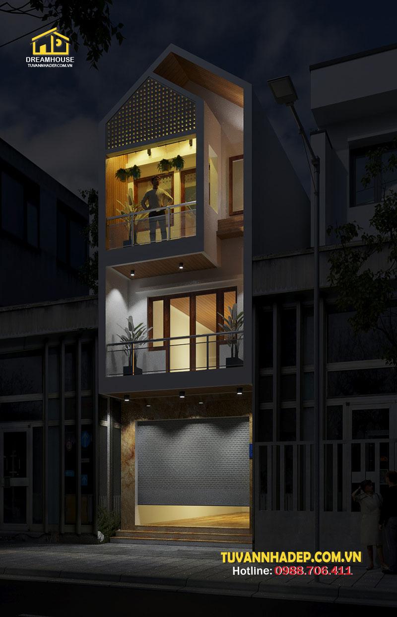mẫu nhà ống 3 tầng hiện đại 4x12m ban đêm