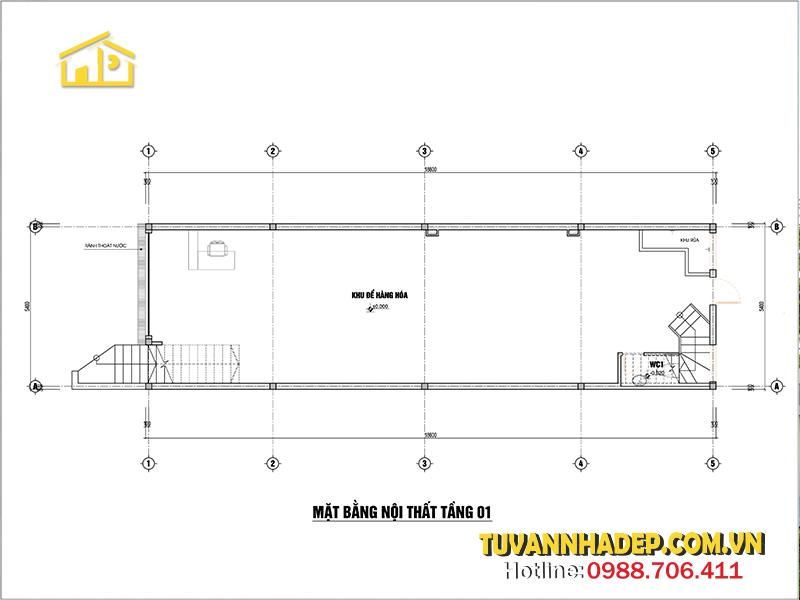 công năng nhà ống 3 tầng kết hợp kinh doanh 100m2