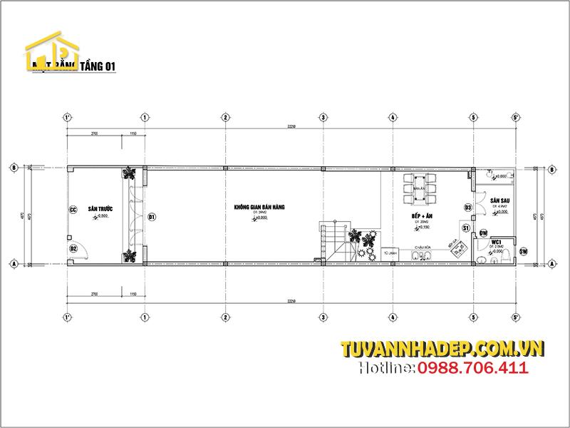 tầng 1 nhà ống lệch tầng kết hơp kinh doanh 110m2